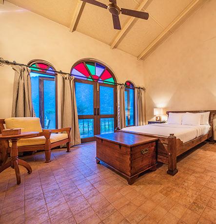 Teak wood furniture rooms of boutique hotel